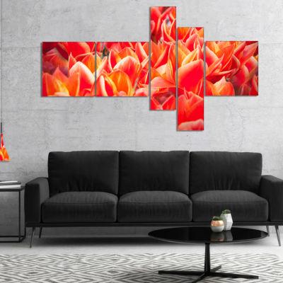 Designart Tulip Flowers In The Keukenhof Park Multipanel Floral Canvas Art Print - 4 Panels