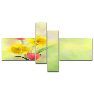 Designart Tulips And Daffodils In Soft Color And Blur Multipanel Floral Canvas Art Print - 4 Panels