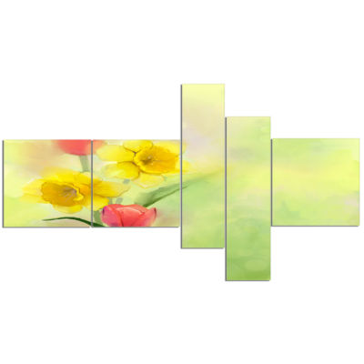 Designart Tulips And Daffodils In Soft Color And Blur Multipanel Floral Canvas Art Print - 5 Panels