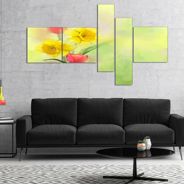 Designart Tulips And Daffodils In Soft Color AndBlur Multipanel Floral Canvas Art Print - 5 Panels