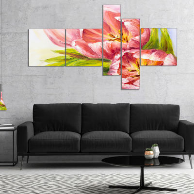 Designart Tulips Flowers Multipanel Floral Art Canvas Print - 5 Panels