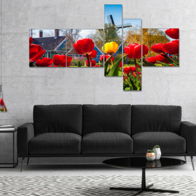 Designart Tulips In The Netherlands Village Multipanel Floral Canvas Art Print - 5 Panels
