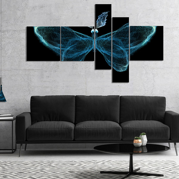 Design Art Turquoise Fractal Butterfly In Dark Multipanel Abstract Canvas Art Print - 5 Panels