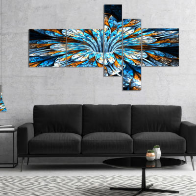 Designart Turquoise Fractal Flower In Dark Multipanel Floral Canvas Art Print - 4 Panels