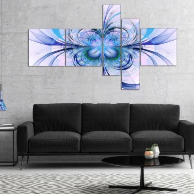 Designart Turquoise Fractal Flower Pattern Multipanel Floral Art Canvas Print - 5 Panels