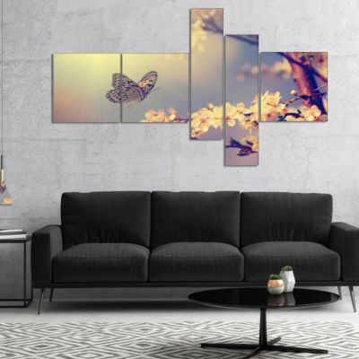 Designart Vintage Butterfly And Cherry Tree Multipanel Floral Canvas Art Print - 5 Panels