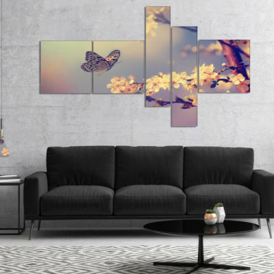 Design Art Vintage Butterfly With Flowers Multipanel Floral Canvas Art Print - 5 Panels