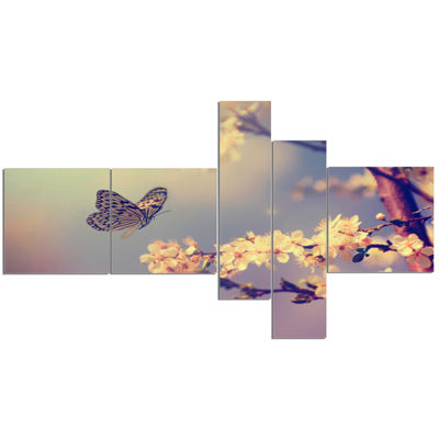 Designart Vintage Butterfly With Flowers Multipanel Floral Canvas Art Print - 5 Panels
