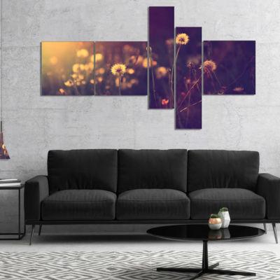 Designart Vintage Dandelion Meadow Photo Multipanel Floral Canvas Art Print - 5 Panels