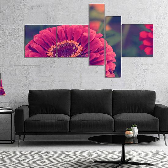Designart Vintage Photo Of Cute Red Flowers Multipanel Floral Canvas Art Print - 5 Panels