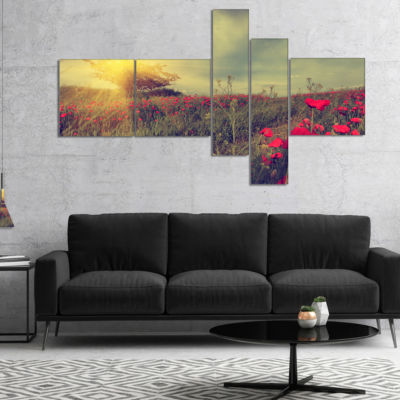 Designart Vintage Photo Of Poppies At Sunset Multipanel Floral Canvas Art Print - 5 Panels