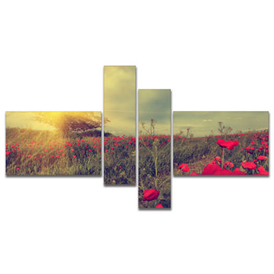 Designart Vintage Photo Of Poppies At Sunset Multipanel Large Floral Canvas Art Print - 4 Panels