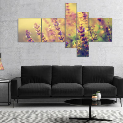 Designart Vintage Photo Of Wild Purple Flower Multipanel Floral Canvas Art Print - 5 Panels
