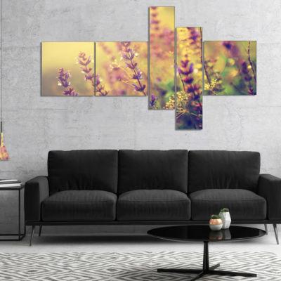 Designart Vintage Photo Of Wild Purple Flower Multipanel Large Floral Canvas Art Print - 4 Panels