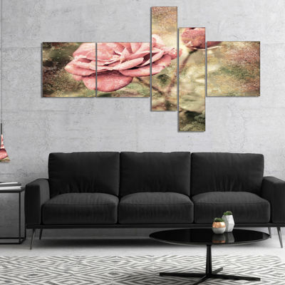 Designart Vintage Pink Roses With Water Drops Multipanel Floral Art Canvas Print - 5 Panels