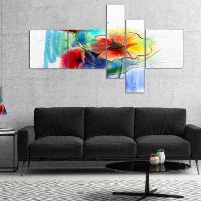 Designart Watercolor Multi Color Flower Illustration Multipanel Floral Canvas Art Print - 5 Panels