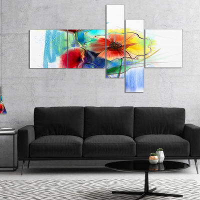 Designart Watercolor Multi Color Flower Illustration Multipanel Floral Canvas Art Print - 5 Panels