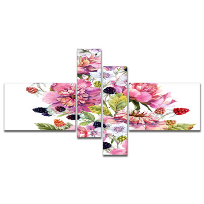 Designart Watercolor Pink Floral Composition Multipanel Floral Art Canvas Print - 4 Panels