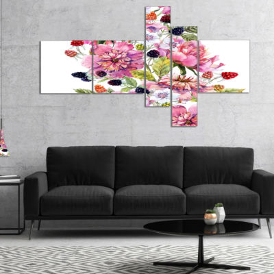 Designart Watercolor Pink Floral Composition Multipanel Floral Art Canvas Print - 5 Panels