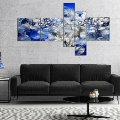 Designart White Chrysanthemum Fractal Flower Multipanel Floral Canvas Art Print - 5 Panels