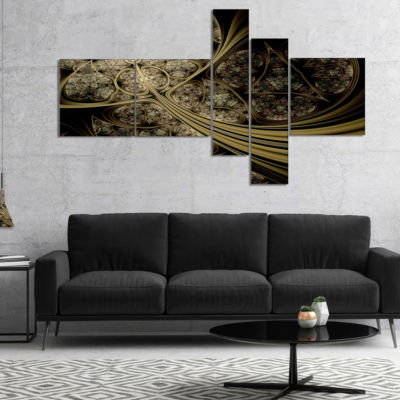 Designart White Metallic Fabric Pattern MultipanelAbstract Print On Canvas - 5 Panels