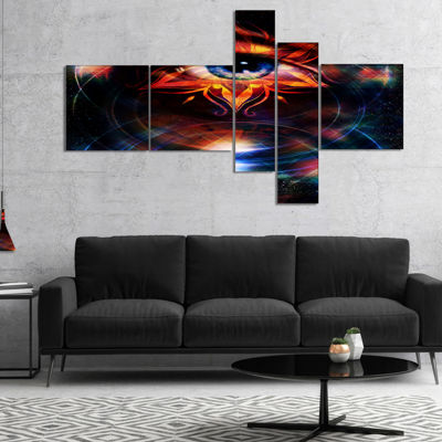Designart Woman Eye With Fractal Star MultipanelFloral Art Canvas Print - 5 Panels