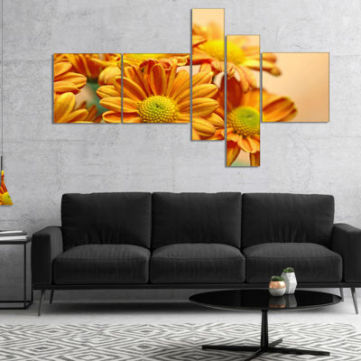 Designart Yellow Flowers In The Garden MultipanelFloral Canvas Art Print - 4 Panels