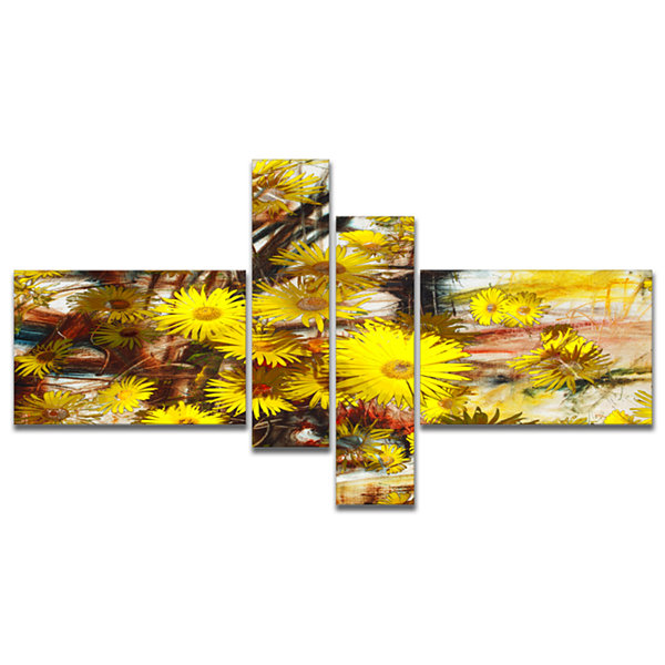 Designart Yellow Flowers Watercolor IllustrationMultipanel Floral Art Canvas Print - 4 Panels