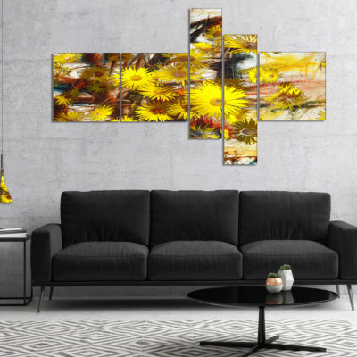 Designart Yellow Flowers Watercolor IllustrationMultipanel Floral Art Canvas Print - 5 Panels