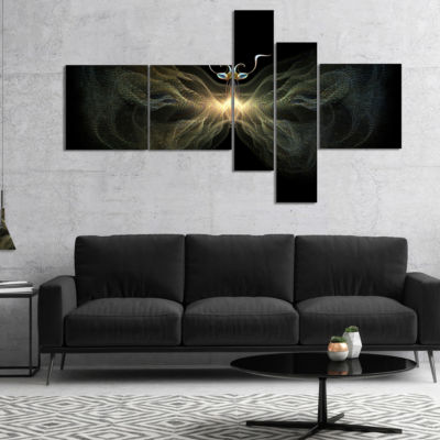 Designart Yellow Fractal Butterfly In Dark Multipanel Abstract Print On Canvas - 5 Panels