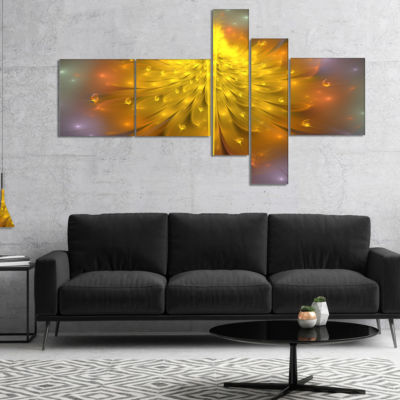 Design Art Yellow Fractal Flower With Pink Multipanel Floral Art Canvas Print - 4 Panels