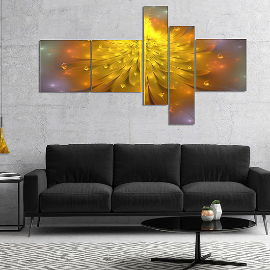 Designart Yellow Fractal Flower With Pink Multipanel Floral Art Canvas Print 4 Panels