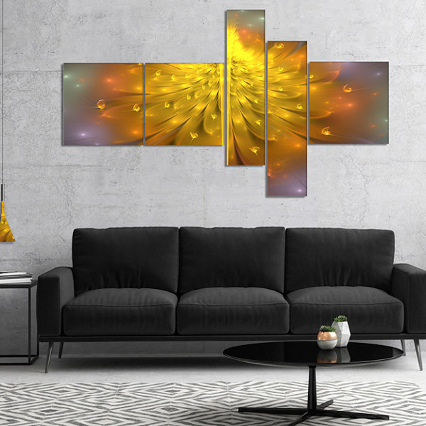 Design Art Yellow Fractal Flower With Pink Multipanel Floral Art Canvas Print - 5 Panels