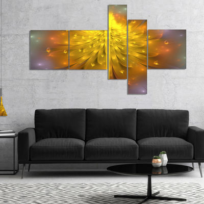 Designart Yellow Fractal Flower With Pink Multipanel Floral Art Canvas Print - 5 Panels