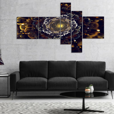 Designart Yellow Fractal Flowers With Violet Multipanel Abstract Print On Canvas - 4 Panels