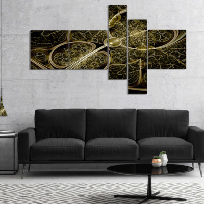 Designart Yellow Metallic Fabric Pattern Multipanel Abstract Print On Canvas - 4 Panels