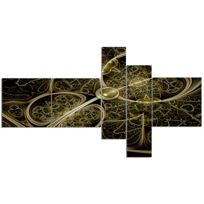 Designart Yellow Metallic Fabric Pattern Multipanel Abstract Print On Canvas - 5 Panels