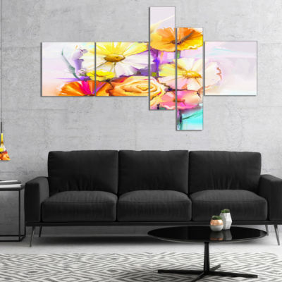 Designart Yellow Pink Gerbera And Rose Bouquet Multipanel Extra Large Floral Wall Art - 5 Panels