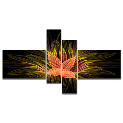 Designart Yellow Red Fractal Flower In Dark Multipanel Floral Canvas Art Print - 4 Panels