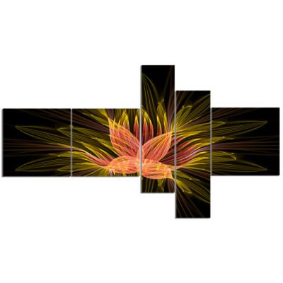 Designart Yellow Red Fractal Flower In Dark Multipanel Floral Canvas Art Print - 5 Panels