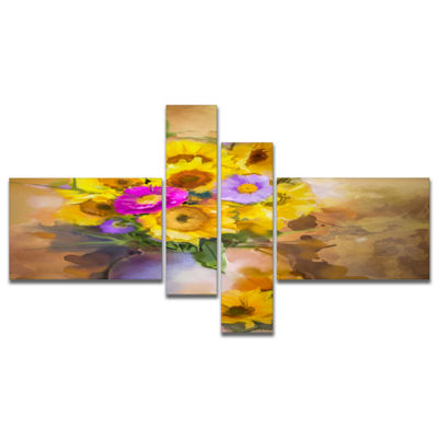 Designart Yellow Sunflower And Violet Aster Flowers Multipanel Extra Large Floral Wall Art - 4 Panels