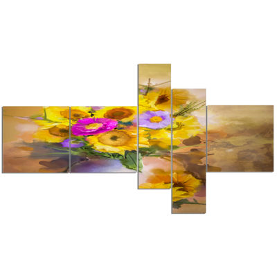Designart Yellow Sunflower And Violet Aster Flowers Multipanel Extra Large Floral Wall Art - 5 Panels