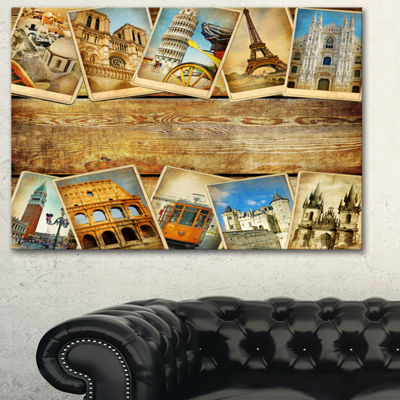 Designart Vintage Collage Cards Contemporary Canvas Art Print - 3 Panels