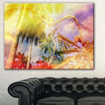 Designart Yellow Retro Palm Trees Landscape Painting Canvas Print - 3 Panels
