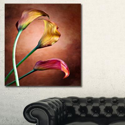 Designart Zantedeschia Aethiopica Floral Art Canvas Print - 3 Panels