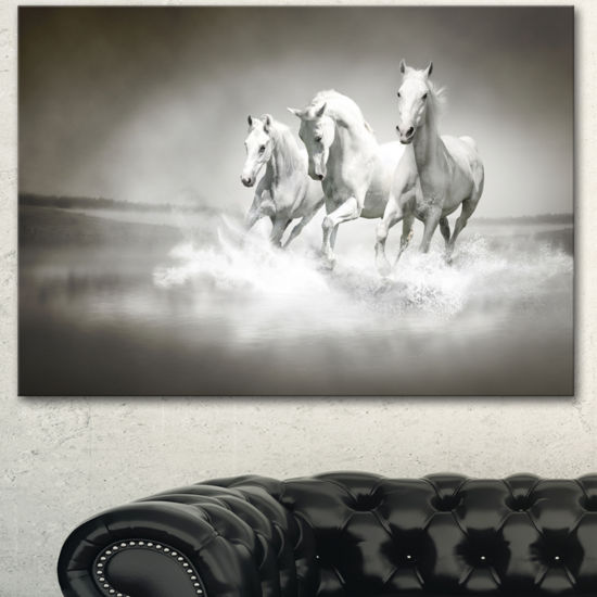 Designart Horses Running Through Water Animal WallArt