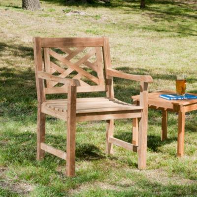 Southern Enterprises Teak Arm Chair Patio Lounge Chair