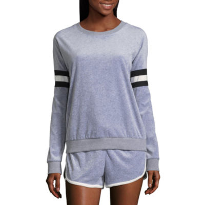 Flirtitude Long Sleeve Varsity Sweatshirt - Juniors