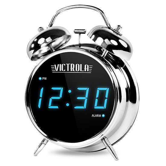 Victrola V50 500 Classic Twin Bell Dual Alarm Clock With Digital Display Chrome