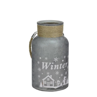 """10"""" Silver White Iced Winter Scene Decorative Christmas Pillar Candle Holder Lantern with Handle"""""""